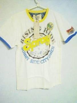 Tー15★新品★メンズ半袖ワッペン付surf系Tシャツ ホワイトL