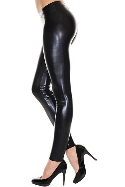 A422)MusicLegsウェットルックレギンス黒ブラックボンテージ女王様ダンス衣装タイツB系 < 女性ファッションの