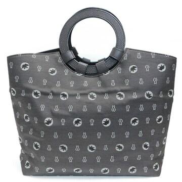 美品ハンティングワールド ハンドバッグ ロゴ柄 濃茶 良品 正規