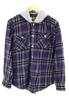 :BLUCO WORK GARMENTフード付きネルシャツネルシャツ