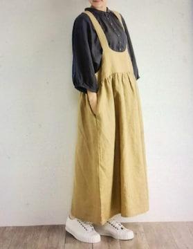 *HEHEAVENLY*リネン サロペットスカート 新品 キャメルベージュ