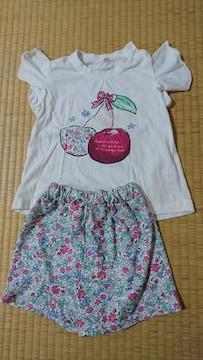 セットアップ☆半袖花柄☆2点セット☆サイズ90
