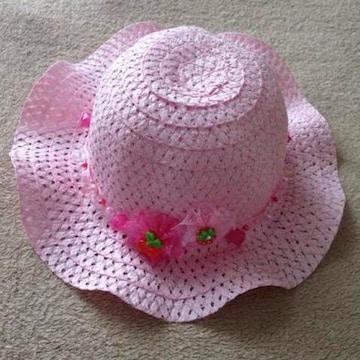 ハンドメイド キッズ 子供用 ピンク リボン ビーズ ハット 帽子