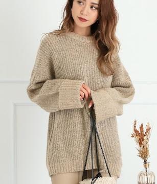 ANAP杢黒芯ベージュ暖か体型カバー長袖丸首ニットビッグセーター