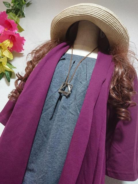 ★新品タグ10L★重ね着風チュニ★ネックレス付き < 女性ファッションの