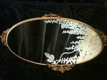 真鍮製 壁掛け ミラー 鏡 姿見 アンティーク 骨董品 インテリア