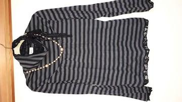 ネック部分内側レース&リボンが可愛いネックレス付き長袖シャツ