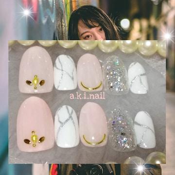 ジェルネイルチップ☆付け爪〜シアーピンク×シルバー大理石柄