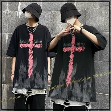 男女兼用!【〜3L4L】ファイヤー十字架&ロゴプリント コットンTシャツ