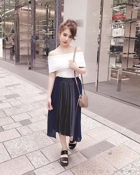 MICOAMERI☆ランダムプリーツスカート☆ネイビー☆S☆超美品