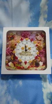 11/25削除】BIRTHDAYお花・スイーツ置き掛け時計