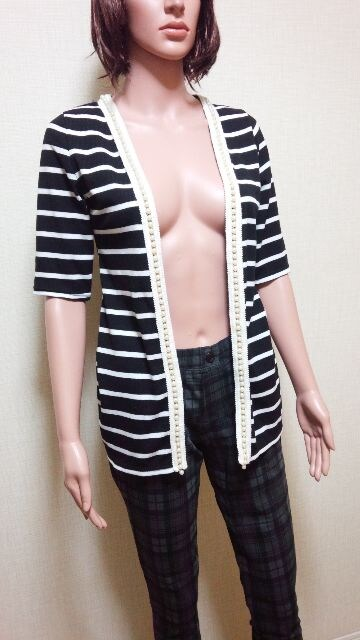 新品タグ付☆多連パール盛り�Aボーダーの綺麗カーデ ☆3点で即落  < 女性ファッションの