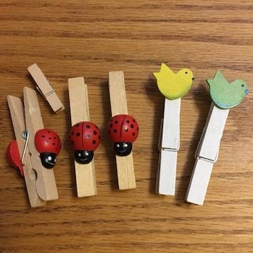 木製 ピンチ 洗濯バサミ 小鳥 てんとう虫