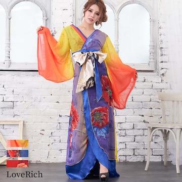 妖艶 花魁風 着物ロングドレス 衣装 コスチューム チャムドレス