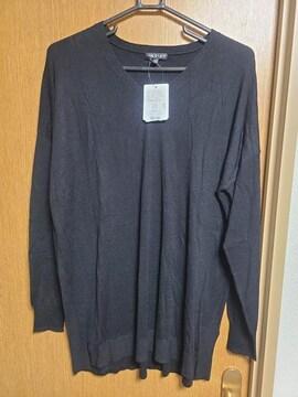 INDIVI昨季新品黒キャメルカシミヤ混Vネックハイゲージニットセーター大きいサイズ4213号