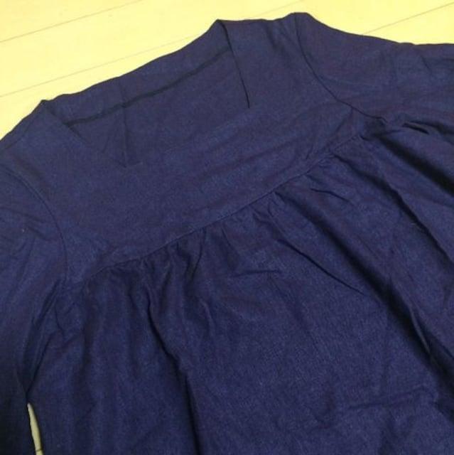 新品◆ハンドメイド◆リネン七分袖ワンピース◆パープル < 女性ファッションの