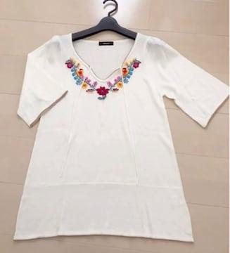 新品 刺繍 サマーニット  チュニック トップス
