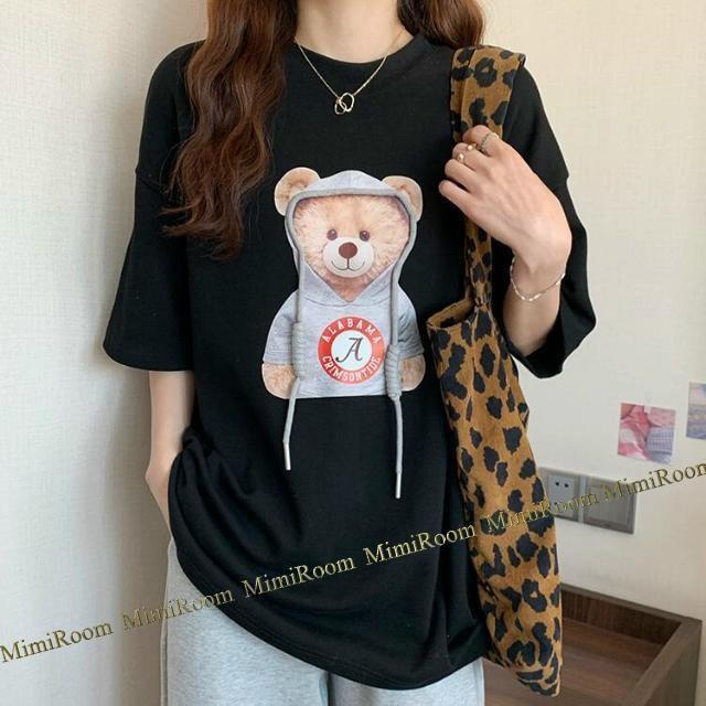 男女兼用!〜4L【大きいサイズ】クマちゃん立体フード紐 Tシャツ/黒 < 女性ファッションの