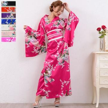 孔雀柄 サテン和柄 帯付き 花魁風 着物ロング チャムドレス