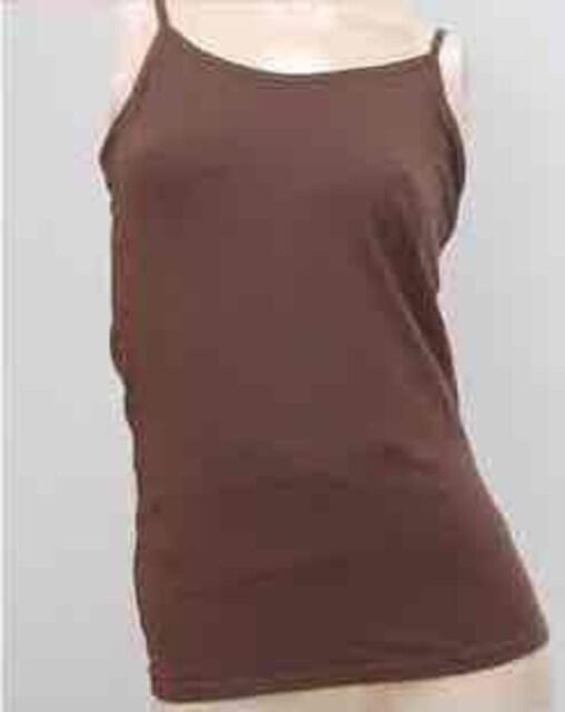 新品★4L★ストレッチシェイパー付★キャミソール★濃ブラウン  < 女性ファッションの