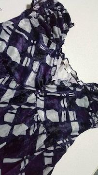 幾何学模様★紫系★デザインチュニック★美品〜Mサイズ