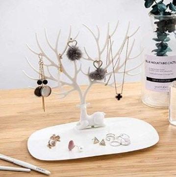 ★送料無料★ 鹿の角×木の枝 ジュエリーボックス 白 他色有
