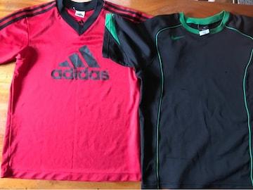少年サッカーTシヤツ2 枚 160 ナイキ黒adidas赤