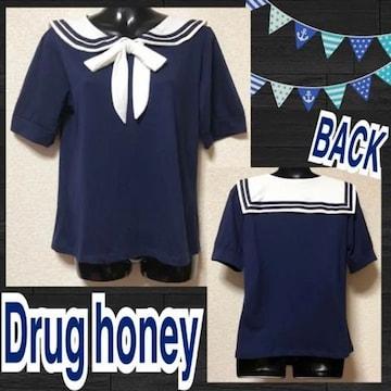 【新品/Drug honey】リボンタイ付セーラーカラーカットソー