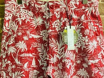 実寸M/新品!リーフ柄 フラワー 花柄 ショートパンツ 総柄 サーフ 西海岸スタイル 赤