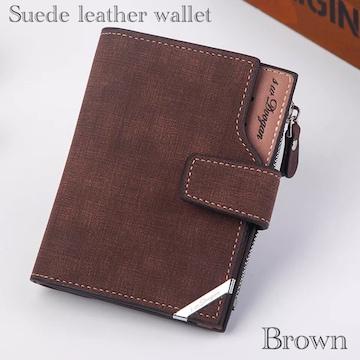 財布 二つ折り財布 スエード レザー 札入れ 小銭カード入れ 茶