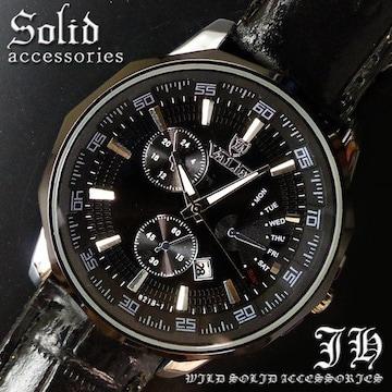 メンズ腕時計 ブラック ベルト スタイリッシュデザイン tvs266