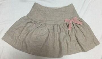ディアマンテ☆ベージュ×ピンクリボンスカート