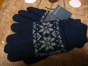 ジョルジュレッシュ ニット手袋ウール100紺雪結晶