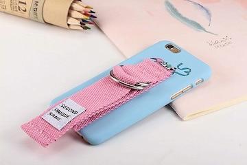 ベルトストラップ iPhoneケース 青×ピンクベルト 1/AQ8