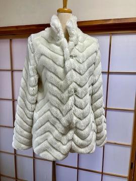 Y097 美品★ 高級 フォックス ハーフコート 本毛皮  ホワイト系