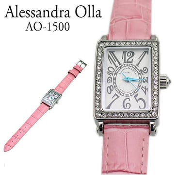 アレサンドラオーラ レディス腕時計 牛革型押しベルト AO-1500-1 桃