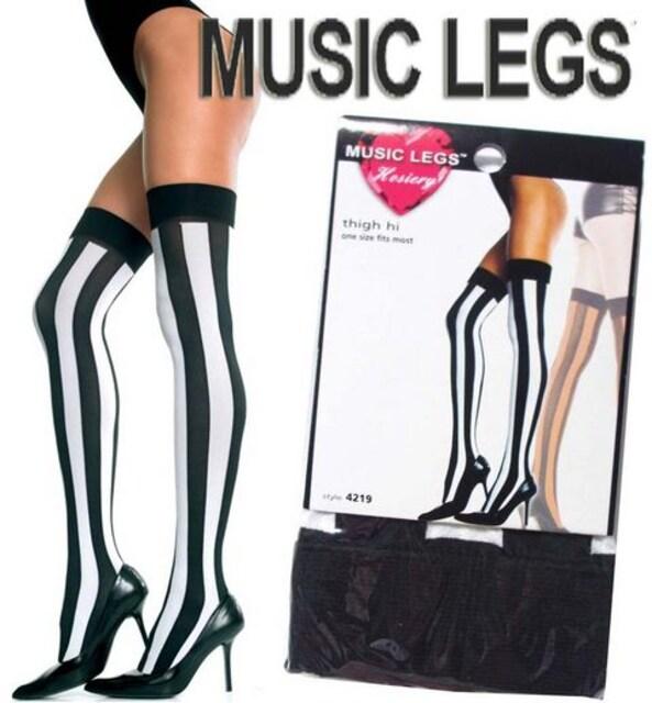 8A0)MUSICLEGSストライプニーハイタイツ白黒ダンサーダンス衣装B系コスプレソックス  < 女性ファッションの