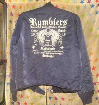 RUMBLERS 刺繍 MA-1風ジャンパー ネイビー