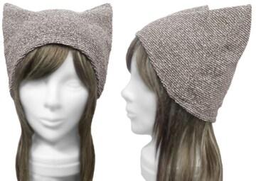 ハンドメイド◆シンプル 猫耳帽子◆ネップニット/杢ブラウン