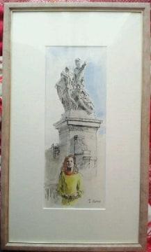 高塚省吾 水彩画『 ローマ 黄色い服の女』署名入 貴重な真筆真作