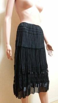 ☆極美品☆サテン切替ふんわりシフォンのスカートB70☆3点で即落