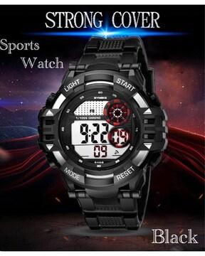 スポーツ腕時計 LED デジタル 防水腕時計 ミリタリー ブラック