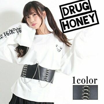 【DrugHoney】チェーン×リング ハイウエストベルト