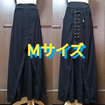 M/レース×編み上げデザイン,マキシスカート