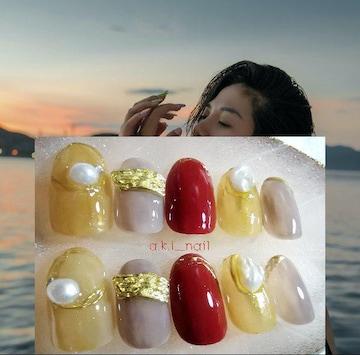 ジェルネイルチップ☆付け爪〜ボルドー×シアーグレー☆パール