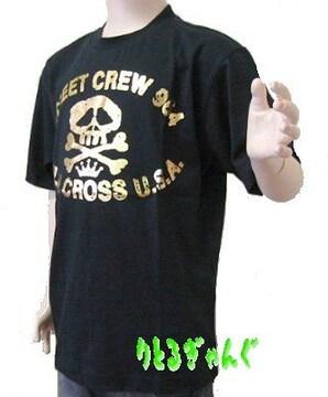 新品160cm★ブルークロス黒スカルTシャツ送料無料