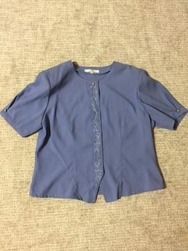 201.新品☆さらさら夏素材半袖ブラウス☆ライラック☆13号