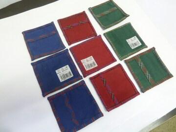 9枚(10×10cm 赤青緑各3枚)綿 コースター★インド製 厚みあり