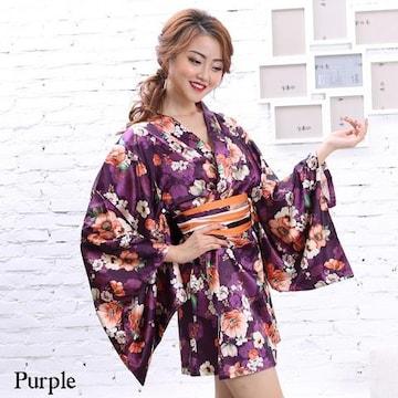 花柄 サテン着物ドレス ミニ 和柄 よさこい キャバ コスプレ 衣装 チャムドレス