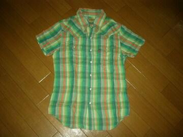 マーブルズMARBLESガーゼチェックシャツS緑系半袖TMT